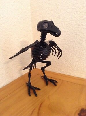 Plastic Black Bird Skeleton Creepy Halloween Prop Decor Haunted House Crow Raven