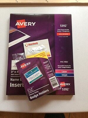 NEW Unopened Avery Name Badge Insert Refills & Heavy Duty Badge Holders