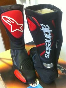 ALPINESTARS RACING BOOTS SIZE 9 OR 43 EUROPEAN BLACK/RED NEW