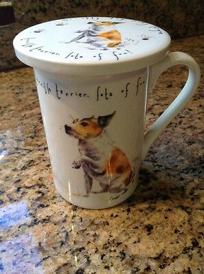 Charming English China Terrier Mug With Cover/Coaster for sale  Shipping to Canada