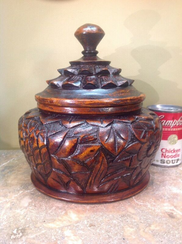 """Vtg Hand Carved Solid Wood Bowl With Lid Excellent Condition 10"""" Tall"""