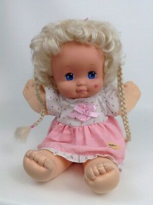Dolls Vtg Mattel 1989 Magic Nursery Vinyl Cloth Doll Brunette Pink Dress Brown Hair Other Dolls