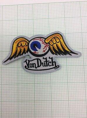 Hot Rod Patch Flying Eyeball badge Von Dutch Drag Race Motorcycle Iron On 5x2.5""