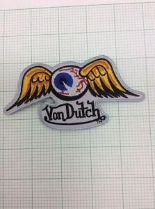 Hot Rod Patch Flying Eyeball badge Von Dutch Drag Race Motorcycle Iron On 5x2.5
