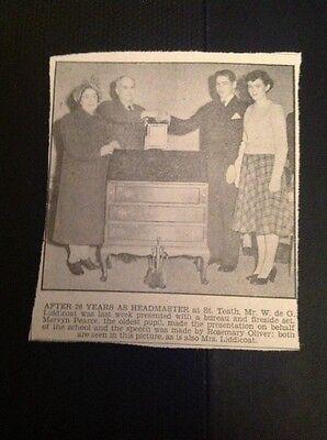 K3-5 Ephemera 1953 Picture St Teeth Headmaster W De G Liddicoat Mervyn Pearce