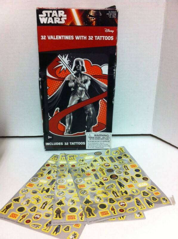 Star Wars Boxed Valentine S Cards Tattoos New Vintage Stickers