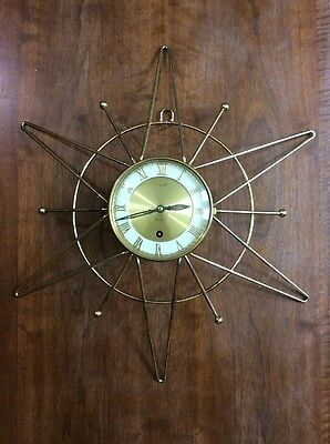 Vintage Welby Mid Century Modern Atomic Star 8 Day Wall Clock Germany