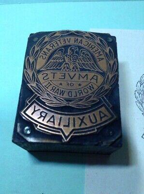 Vintage Copper On Wood Printing Block- American Veterans Auxiliary Ww Ii