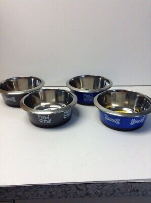 Pet Zone 4 Cup Medium Stainless Steel Pet Bowl Hybrid Assorted Colors & Designs Designs Pet Bowl