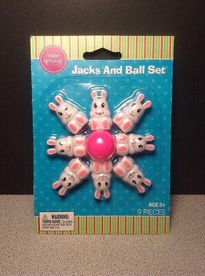Easter Bunny Rabbit Jacks and Ball Set, Basket - Ball And Jacks Set