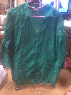 ❤️❤️❤️Per Una @ M&S SIZE 16 Jade Green Embellished Blouse  -VGC