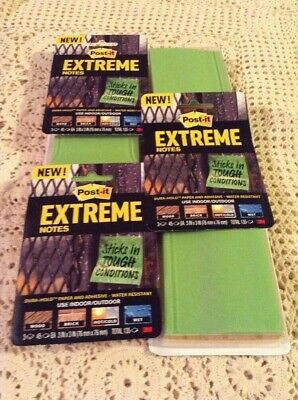 Lot Of Post-it Extreme Notes Water Resistant 3x318 Pads Of 45total 810 Notes
