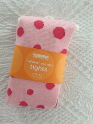 Beautiful Gymboree Halloween Costume Pink Polka Dot Tights NWT Size 3-4