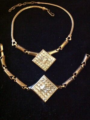 Vintage Estate Art Deco Styled Rhinestone Square Bracelet Necklace Set