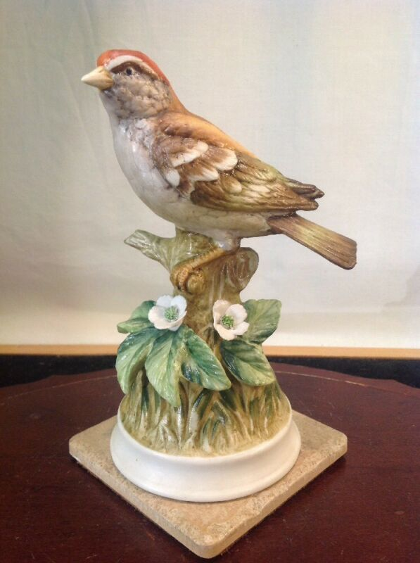Vtg Rare Hand Painted Chipping Sparrow Porcelain Figurine By Angeline Originals