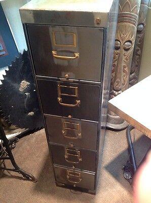 Vintage Steampunk Industrial 5 Drawer Metal File Cabinet Storage Bin Dresser