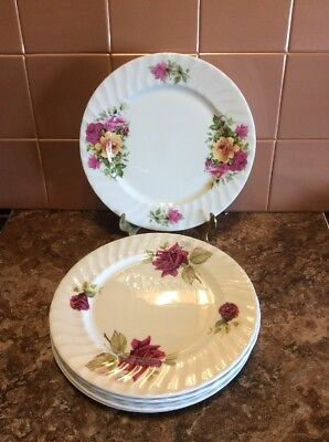 Staffordshire Royal Victorian Floral Rose Dessert/Luncheon Asst Plate Lot Of 6