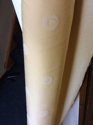 10m Lemon Yellow Ecru Swirl Jacquard Curtain Fabric FREE POSTAGE