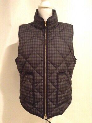 J Crew Factory Women's Quilted Down Puffer Vest Gray Black Plaid Print Sz XL Plaid Print Vest