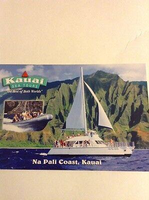 Hawaii Sail Boat Kauai Sea Tours Na Pali Coast Postcard Chrome