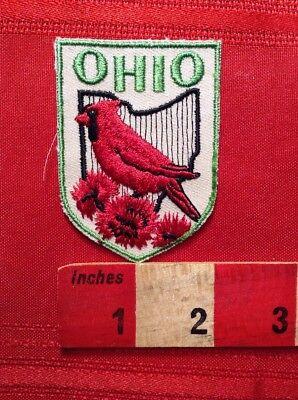 VINTAGE STATE BIRD CARDINAL OHIO PATCH ~ TRAVEL SOUVENIR EMBLEM RED BIRD C63G