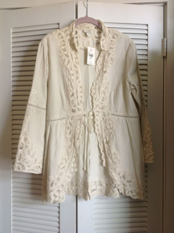 J JILL Linen & Lace L/S Jacket Size PM   NWT