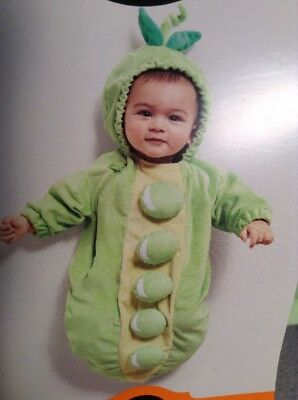 NEW Green Peapod Plush Bunting Hood Halloween Costume Infant Baby 0-6 months