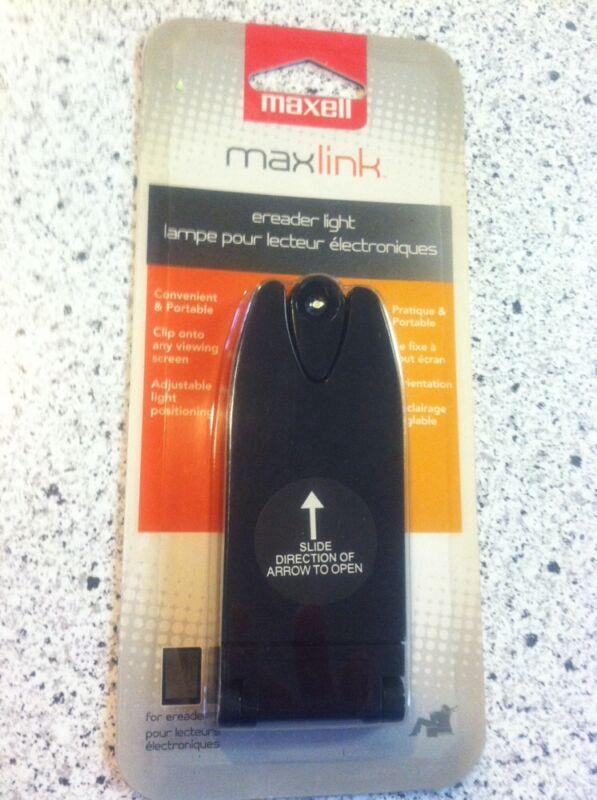 #1543 Maxell Maxlink EReader Light Black Clip Onto Screen Portable NEW