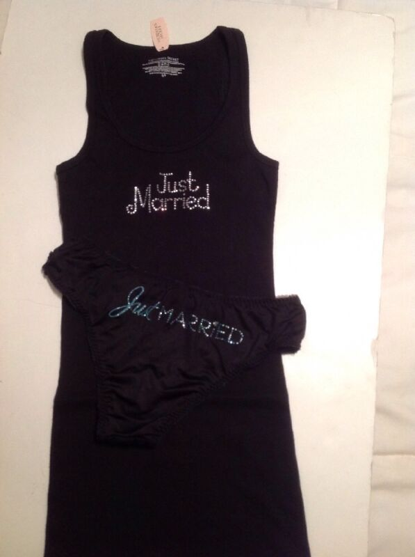 """Victorias Secret Bridal Black Tank Top w/ Panty """"Just Married"""" Bling Small Set"""