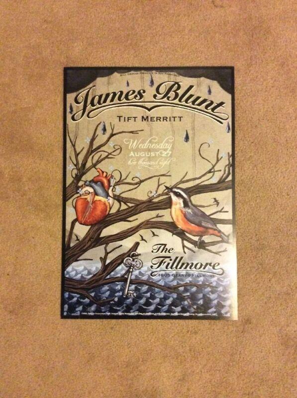 James Blunt Poster Fillmore Offset 2008 Tift Merritt Bird Heart Key