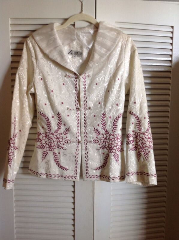 Wei Na Si  Jacket  Ivory Sateen  Purple Floral Embroidery , Sheer Collar ,Medium