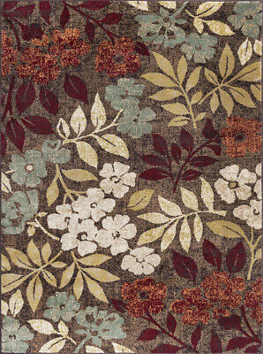 Brown Contemporary Machine Made Vines Leaves Bulbs Area Rug Floral DCO1308 ()
