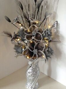 Artificial Silk Flower Arrangement Silver Flowers in Silver Glitter Vase Lights