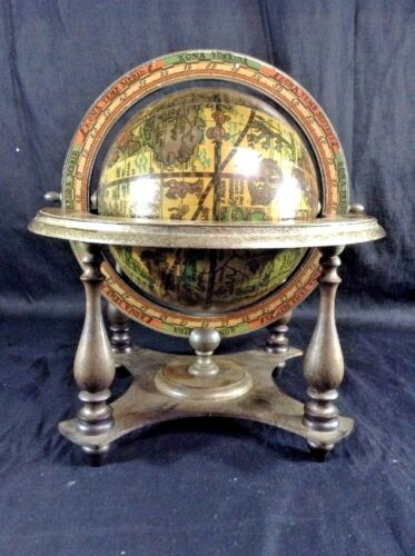 "Terrestrial Globe vtg Italian made reproduction 10"" Table Top Art Deco Astrology"