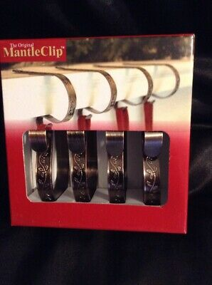 Christmas Mantle Stocking Clip Holder Brushed Copper w/ Holly Metal Set of 4 ()