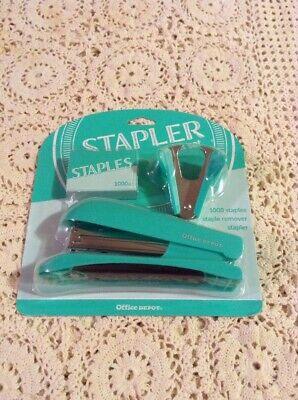 Office Depot Stapler Desk Set-stapler 1000 Staples Staple Remover Green