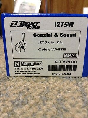 14 Coaxial Cable Staples White Coax Cat 5 6 Data 6u 1275w New 100ct
