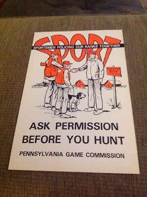 """Original 1970s PA Game Commission Poster """"SPORT"""" Ask Permission Before You Hunt"""