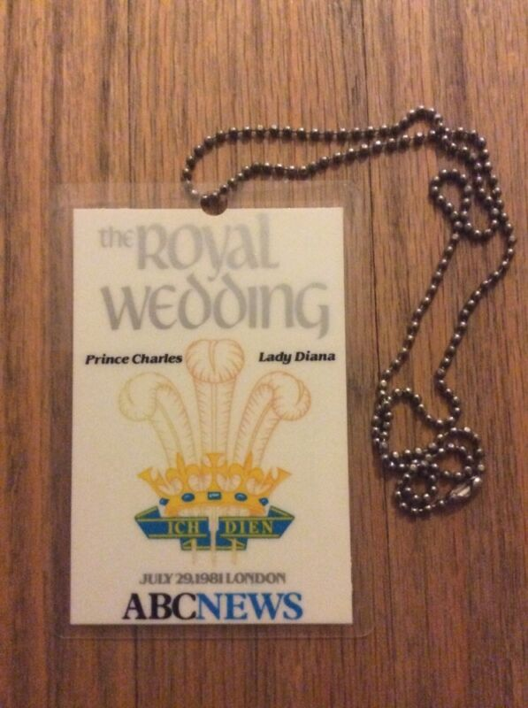 1981 The Royal Wedding Princess Diana & Prince Charles ABC News Press Pass Lady