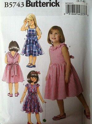 Butterick Sewing Pattern 5743 Girls Sun Dresses Sizes 2 3 4 5 New