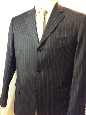 Mens Gorgio Cosani Hand TaIlored  3 Btn Dbl Vent  Gray Tan Striped Suit 42R