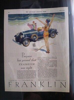 "1929 Franklin 130 ORIGINAL 10x13"" AD - Great Garage Decor Syracuse NY"