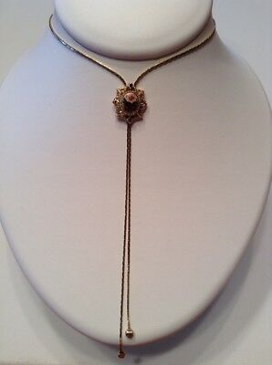 Vintage New Signed 1928 Jewelry Y Necklace Gold Colour Roses Porcelain Crystals