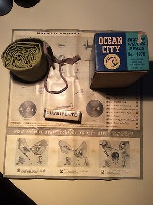 VINTAGE OCEAN CITY No.1970 LEVEL WIND BAIT CASTING REEL BOX ONLY, LUBRIPLATE, (Wind City Sole)