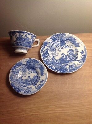 ROYAL CROWN DERBY 'Blue Aves' Cup/Saucer/Plate Trio, Excellent Condition c1990s Aves-cup