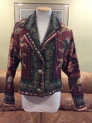 Painted Pony M Lion Tapestry Western Short Blazer Coat Lions Ladies Paint