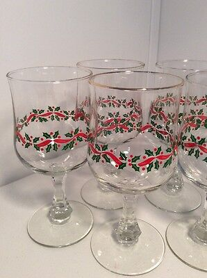 Set of 8 Arby's Christmas Holiday Holly w Red Ribbon Wine Water Goblets Glasses