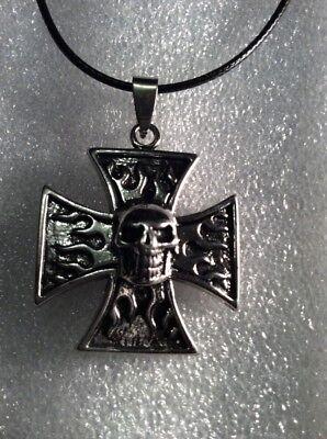 Heavy Maltese Iron Cross Skull Black Silver Stainless Steel Pendant Necklace