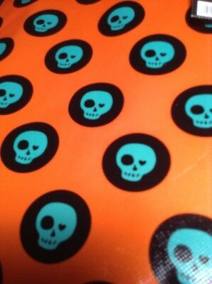 NEW Dark Orange Halloween Trick or Treat Candy Bag Skulls and Dots Re-usable](Halloween Candy And Treats)