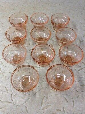 VINTAGE ANTIQUE SHARON CABBAGE ROSE PINK DEPRESSION GLASS Lot Of 11 Sherbet Cups